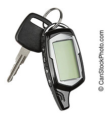 Car key with remote control, isolated over white background