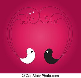 Two birds forming heart on the viol - Two birds forming...