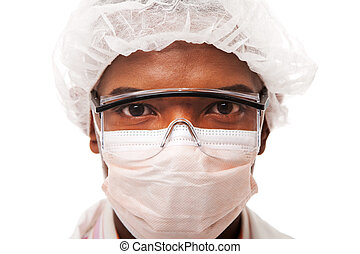 Food Industry Hygiene - Portrait face of a handsome man...