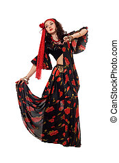 Expressive gypsy woman. Isolated