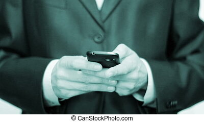 Messenger sms mms - Businessman using mobile phone for text...