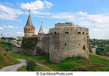 The medieval fortress in Kamenets Podolskiy, Carpathians,...
