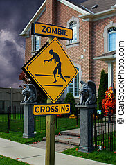 Zombie Crossing Sign and Spooky House for Halloween