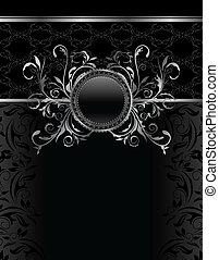 Illustration luxury vintage aluminum frame template - vector