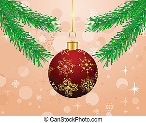 Christmas background with branch and ball - Illustration...