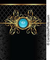floral frame with heraldic eagle - Illustration floral frame...