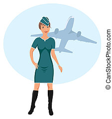 beautiful stewardess at the airport - Illustration beautiful...