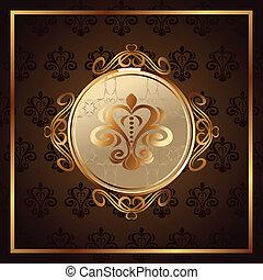 gold invitation frame or packing - Illustration gold...
