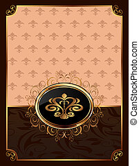 golden ornate frame with emblem - Illustration golden ornate...
