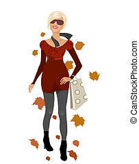 elegant autumn girl isolated