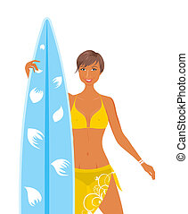 Illustration cool girl in yellow swimsuit with surfboard in her hand, isolated - vector