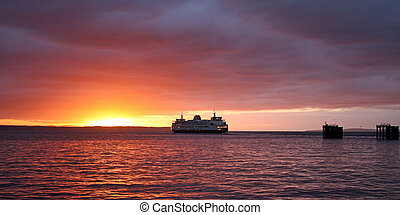 Ferryboat in the sunset.