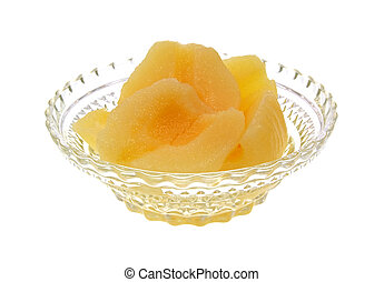 Pear halves in glass dish