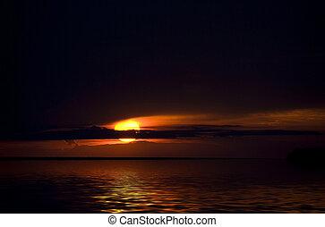 Lake Michigan Sunset - Sunset reflection on Lake Michigan.