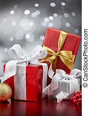 christmas presents - christmas gifts and ornaments against...