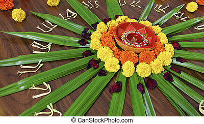 Floral design display Hindu Festival custom - Rangoli,...