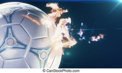 soccer ball on flames - Flames leaping spinning soccerball...