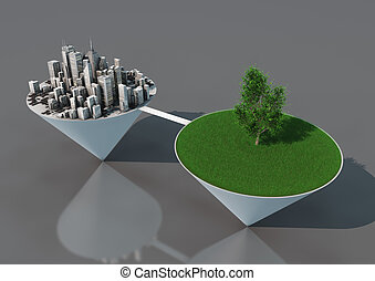 Nature and city balance - render of an abstract concept...
