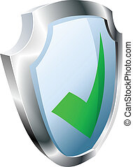 Tick shield security concept. Shield with green tick icon.