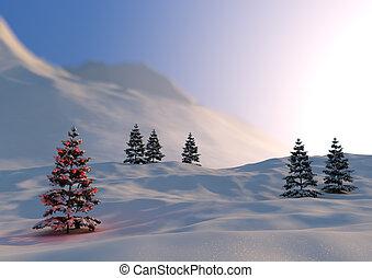 christmas scene - render of a serene christmas scene