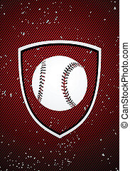 Baseball badge - Vector baseball badge on red background
