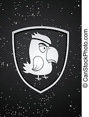 Parrot badge - Vector pirate parrot badge on black...