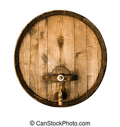 Old wooden barrel with a stopcock isolated on a white...
