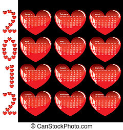 Stylish calendar with red hearts for 2012.