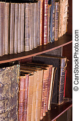 Old antique books at bookstore or library