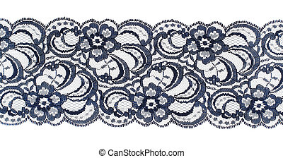 Lace trim ribbon over white Embroidered fabric Closeup
