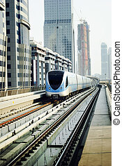 Dubai Metro - Train in dubai, United Arab Emirates