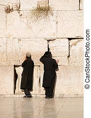 Two prayers near Jerusalem wall