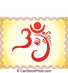 ganesha based om text artistic template vector illustration