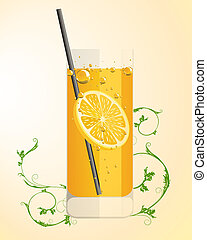 fresh drink - vector illustration of a longdrink glas with...