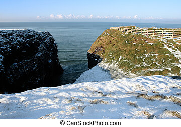 winter snow cliff walk - christmas winters view of the...