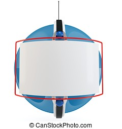 3d sphere advertising with blank billboard on white...