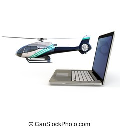 3d laptop with helicopte