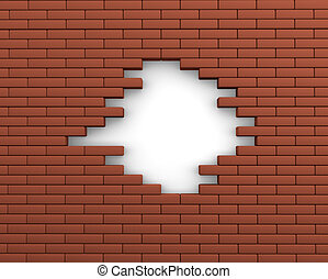 Brick - Hole in a brick wall. 3d render illustration