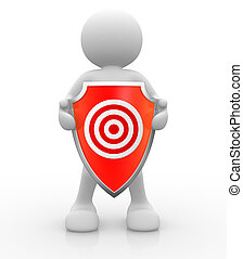 Shield - 3d people - human character with shield and target....