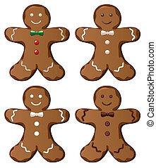 gingerbread cookies - illustration of four vector...