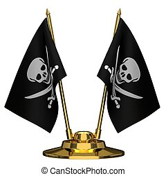 Desktop flagpole with pirate flags