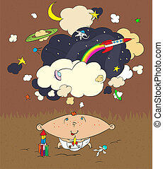 Children's dreams - A little boy dreams about the cosmos and...