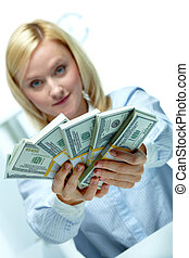 Banker - Woman reaching out dollar rolls