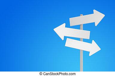 3d blank arrow sign - 3d Blank arrow sign on sky background