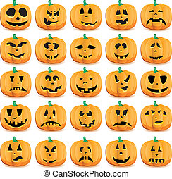 Big set of halloween pumpkins with Jack O`Lantern face,...