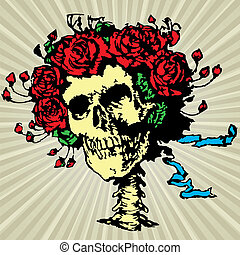 Skull in roses crown, vector illustration