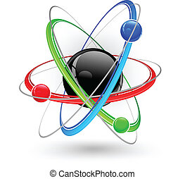 Atom color symbol - Central nucleus surrounded by color...