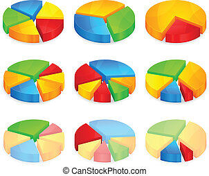 Color circular diagrams with different size pieces, vector...