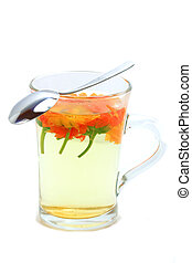 Marigold tea isolated