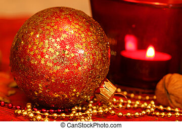 Christmas macro of glass ball - Red Christmas glass ball...